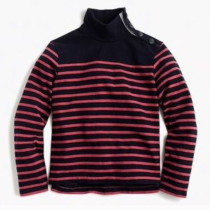 J.Crew Striped Button Turtleneck